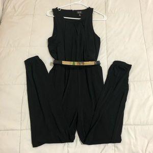 Women's romper. Full length, black, size Medium